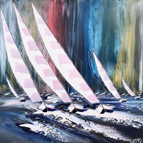 Poussés par le vent et les vagues... | 100x100cm 🔴
