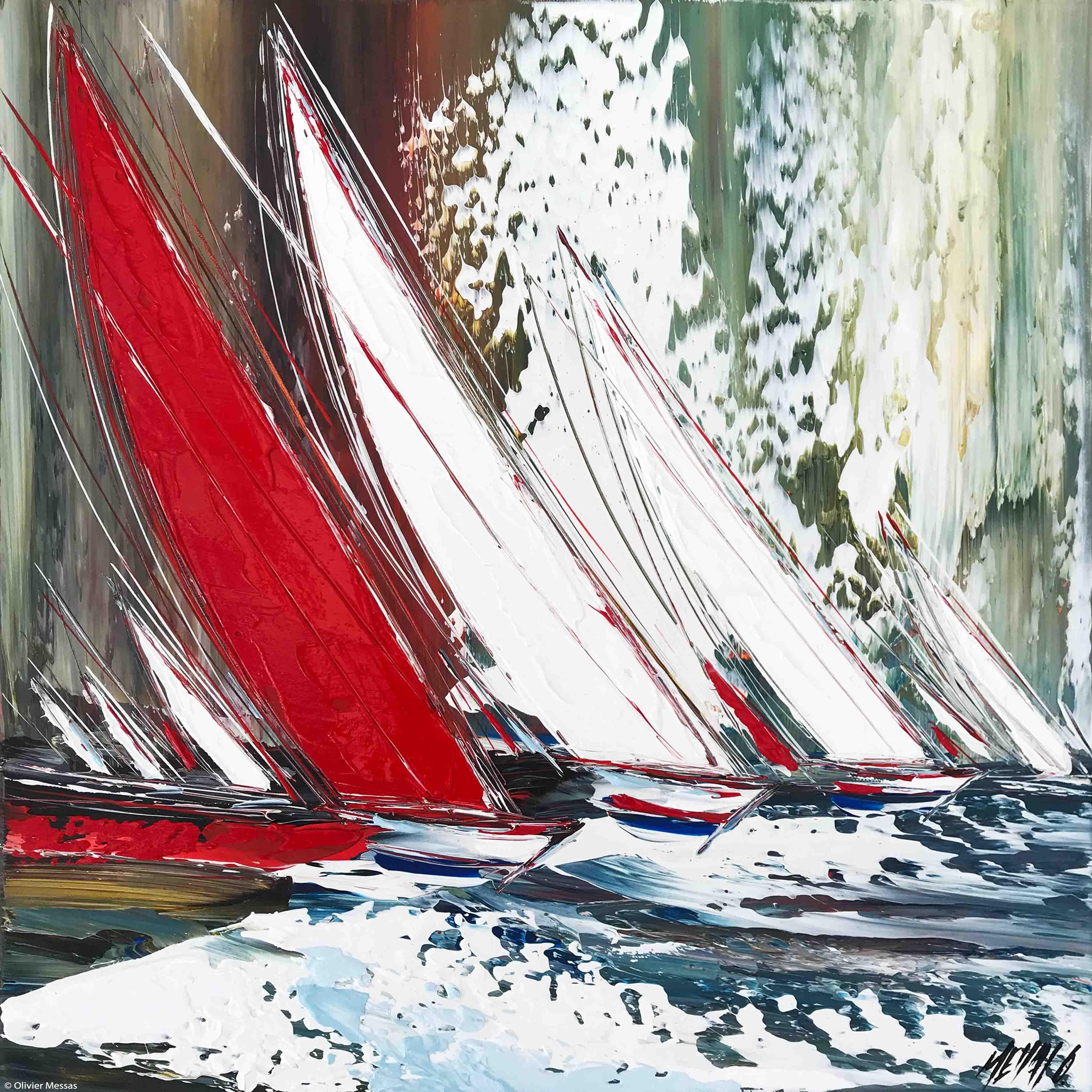 Les voiles rouges... II, 50x50cm