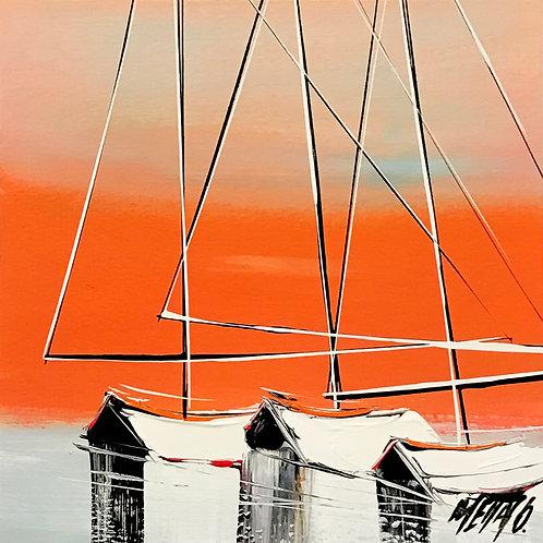 Les voiliers du matin... | 19x19cm [cadre 40x40cm]