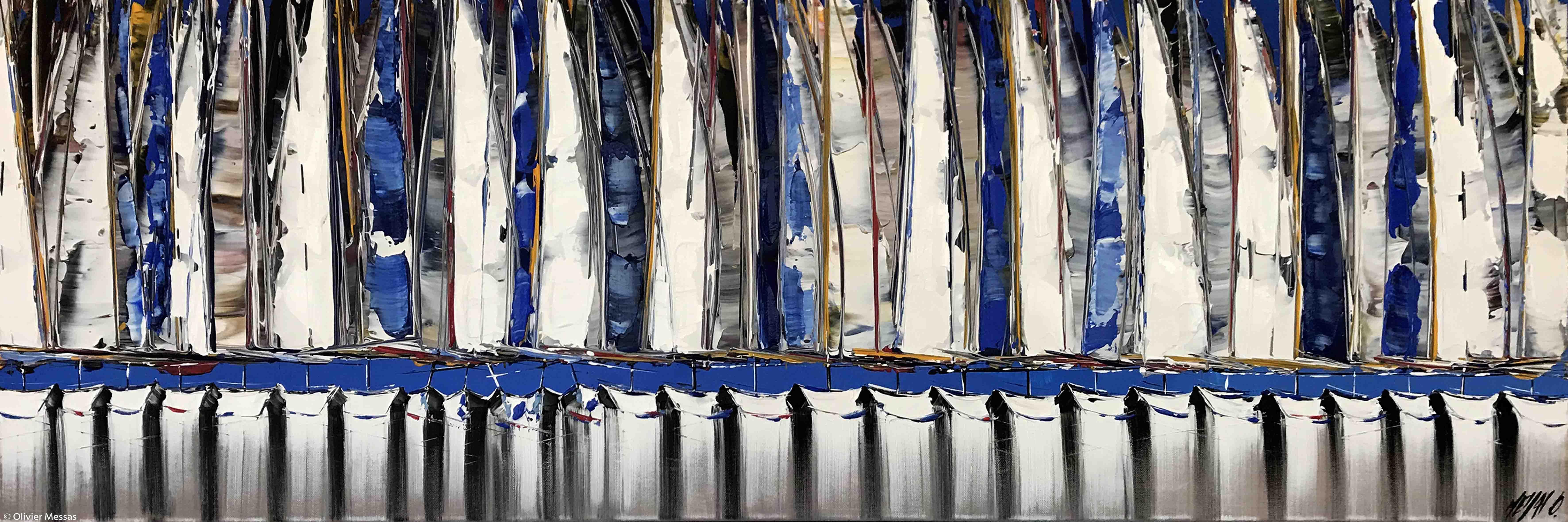 Les voiles bleus II, 40x120cm