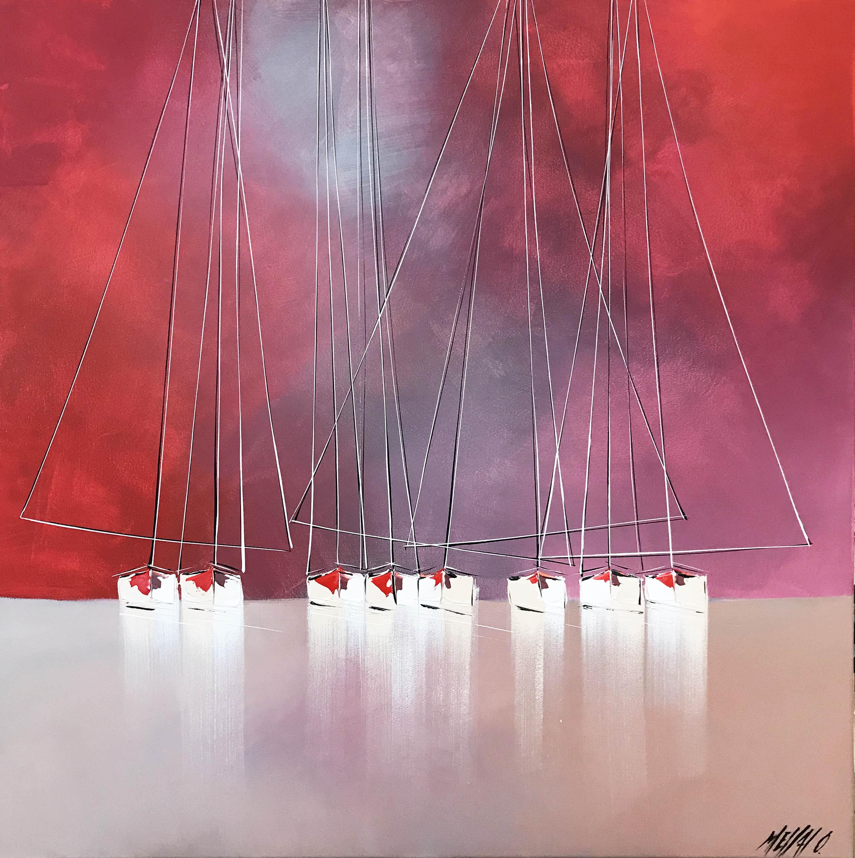 Horizon en rouge... | 80x80cm