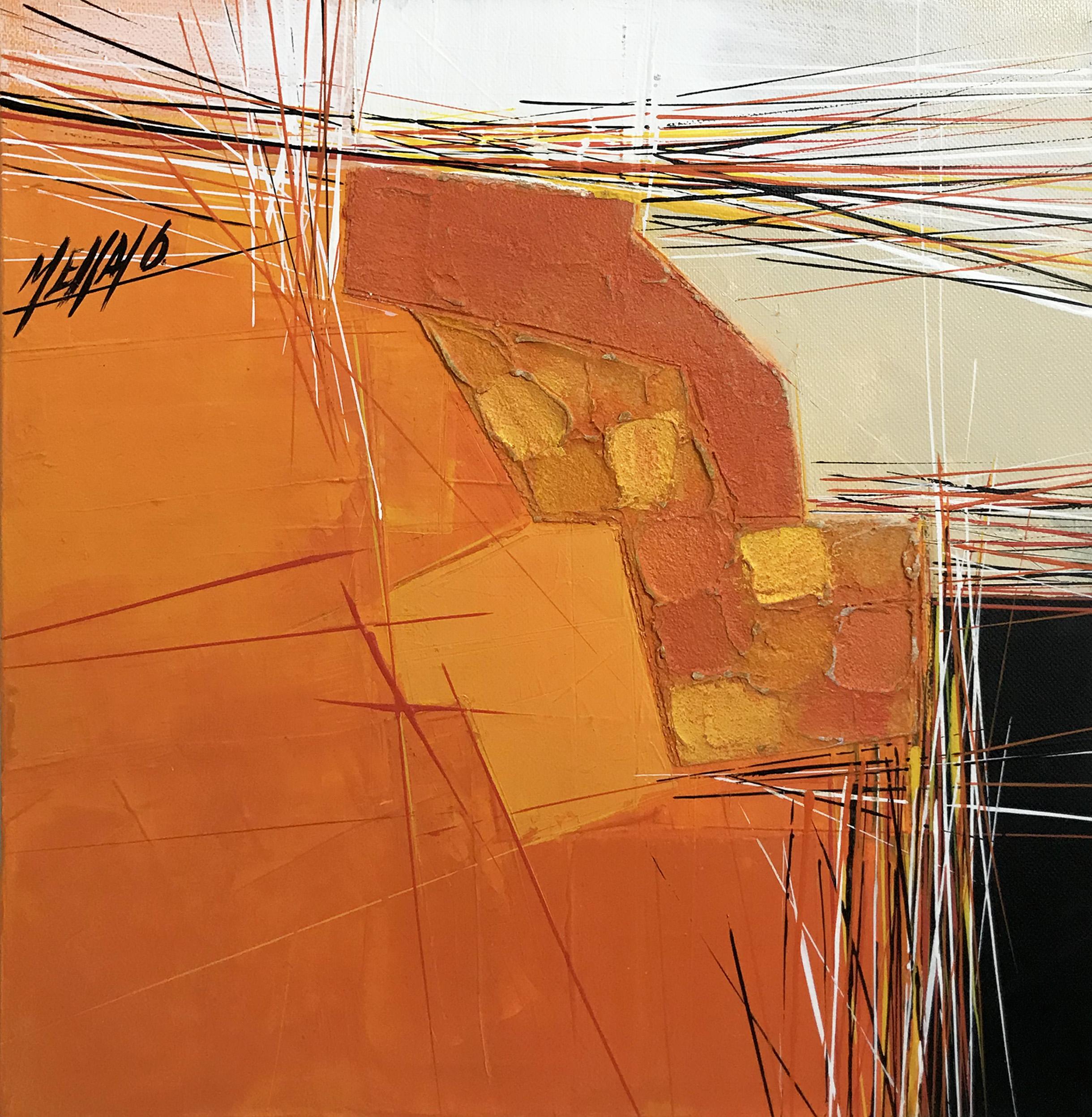 Paysage en orange... | 30x30cm