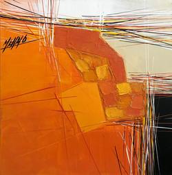 Paysage en orange...   30x30cm