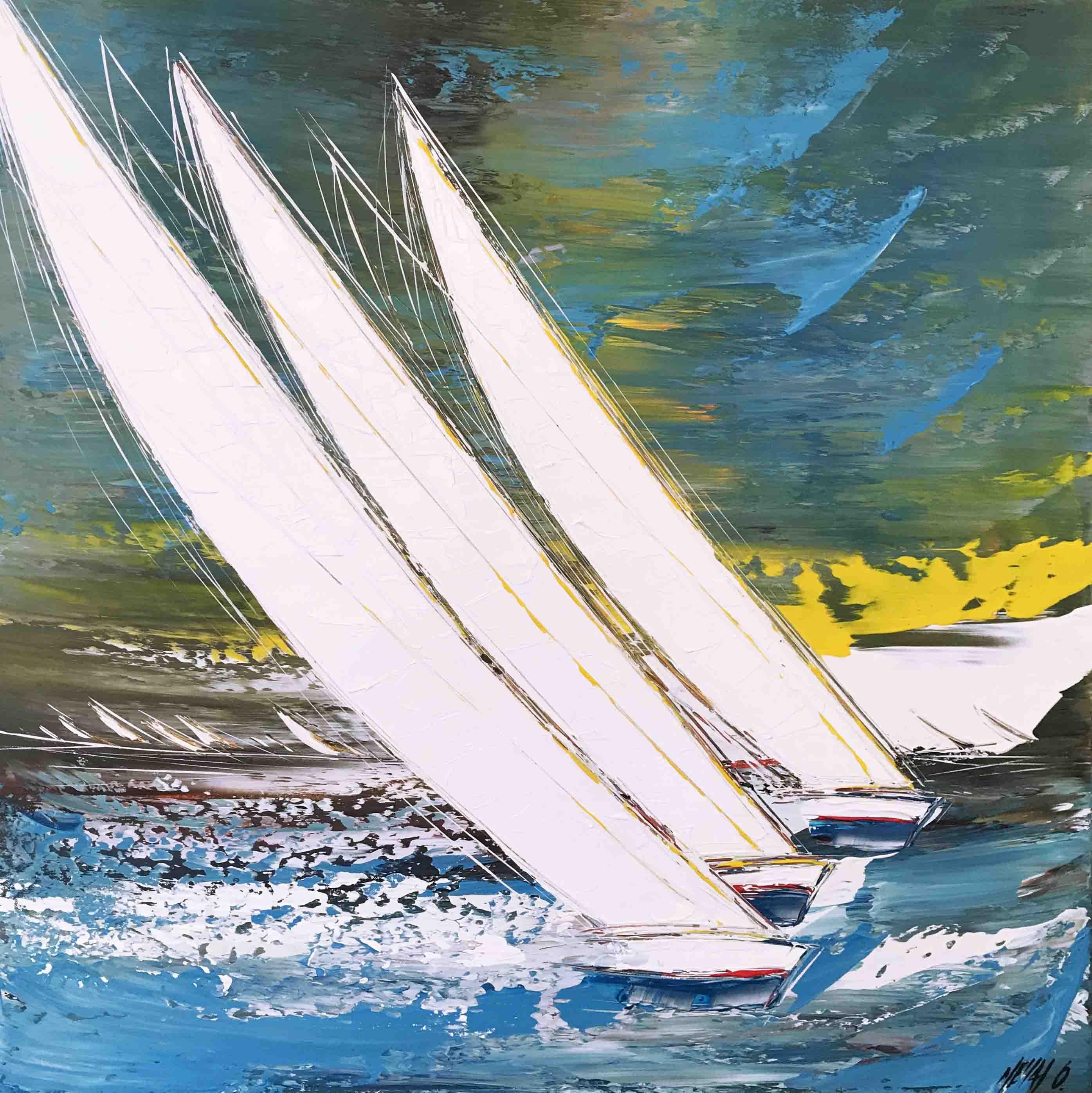 Les voiliers de Kos..., 80x80cm