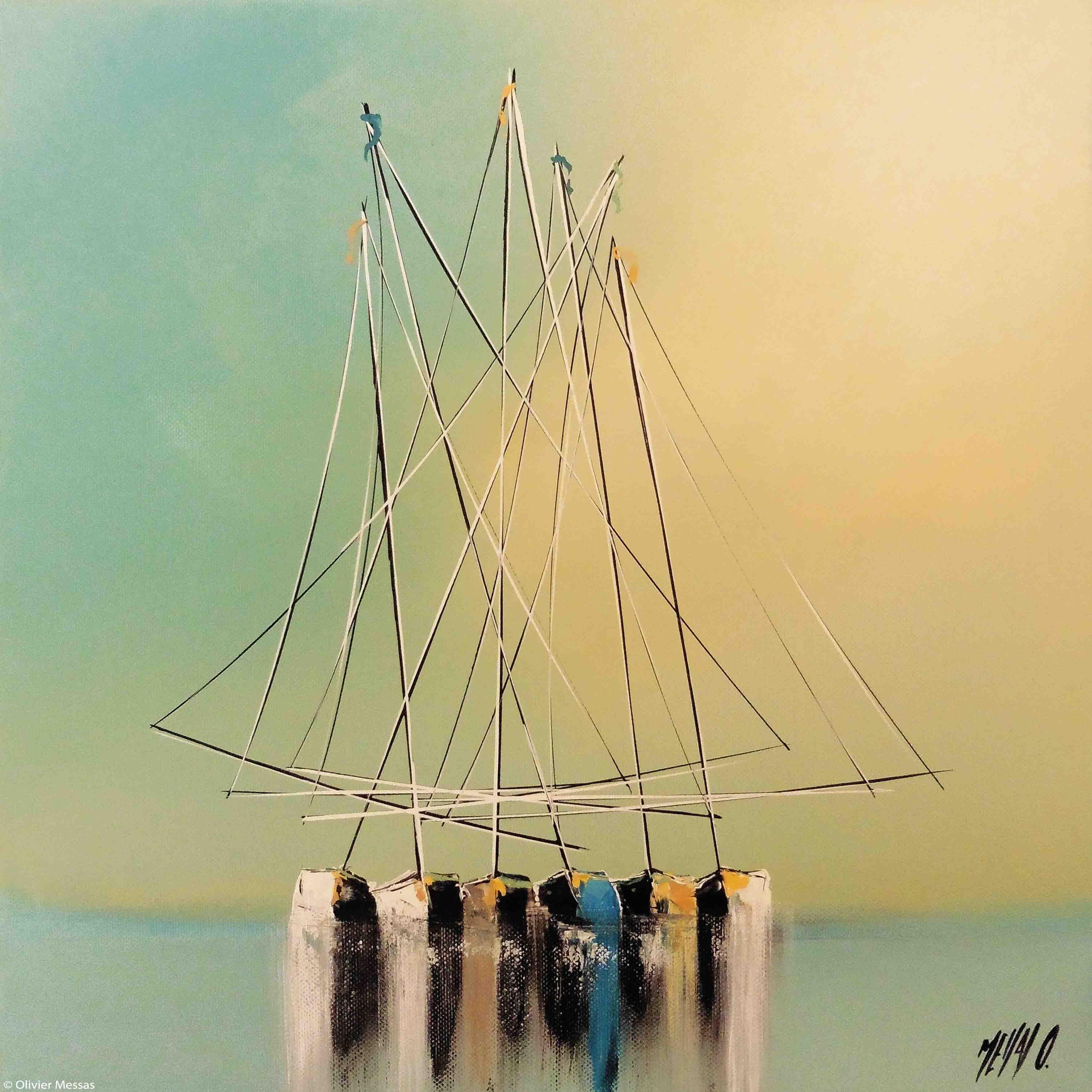 Histoire de voiliers III, 40x40cm