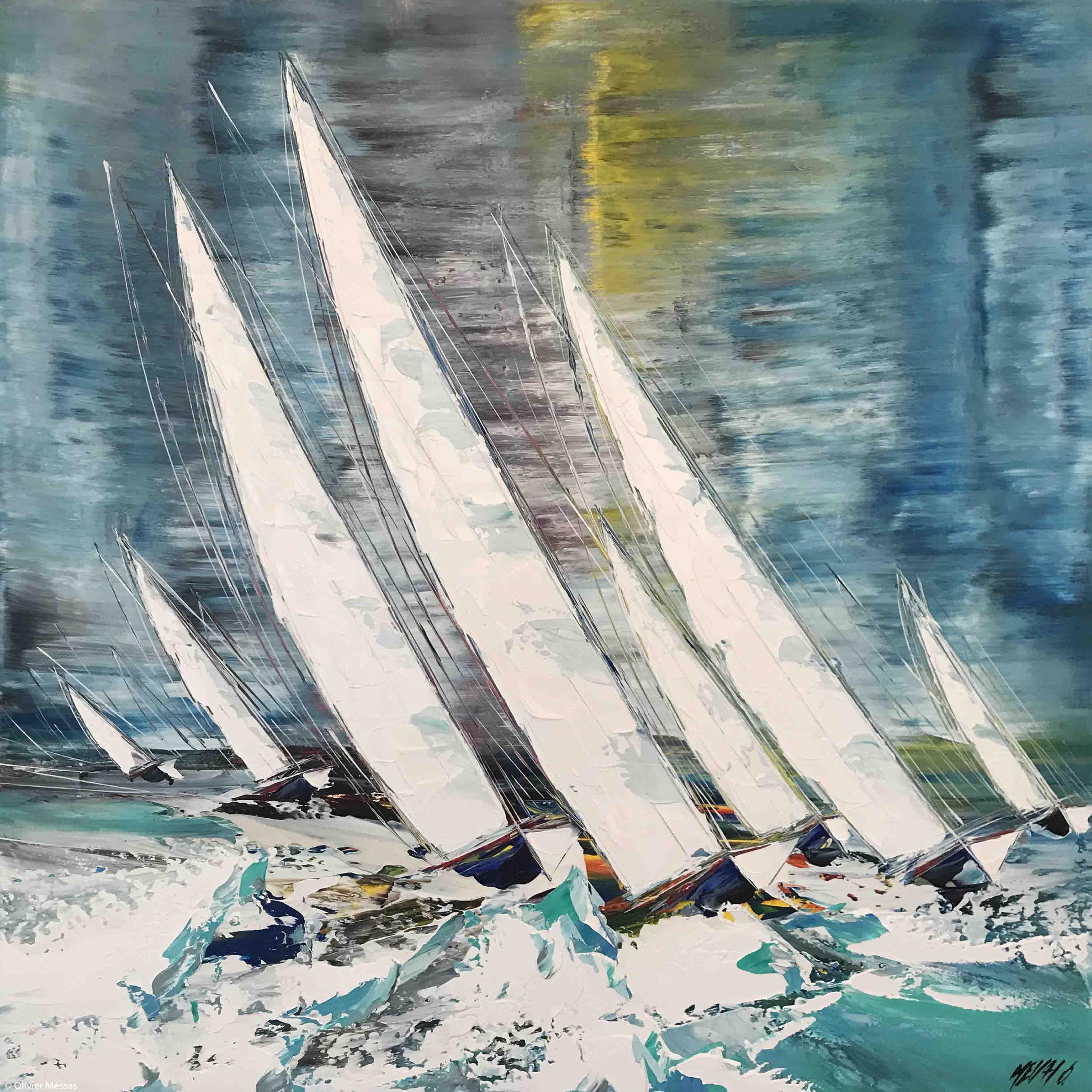 Entre vent et vague..., 100x100cm