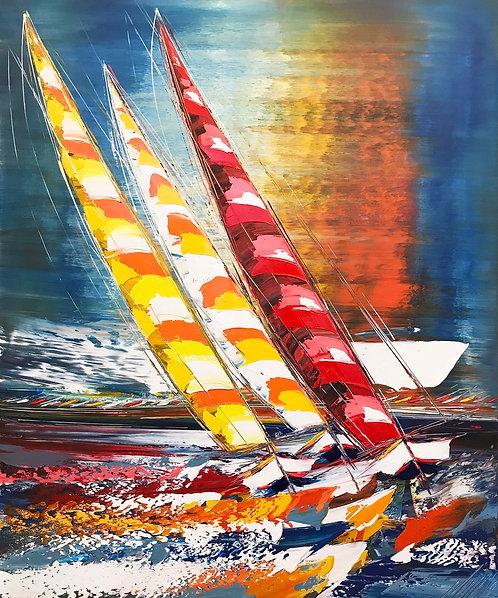 Les voiliers du soleil levant... | 120x80cm