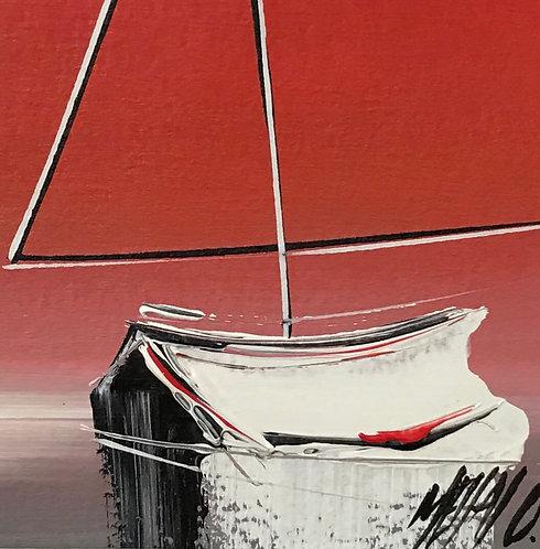 Horizon en rouge... | 9x9cm [cadre 20x20cm]