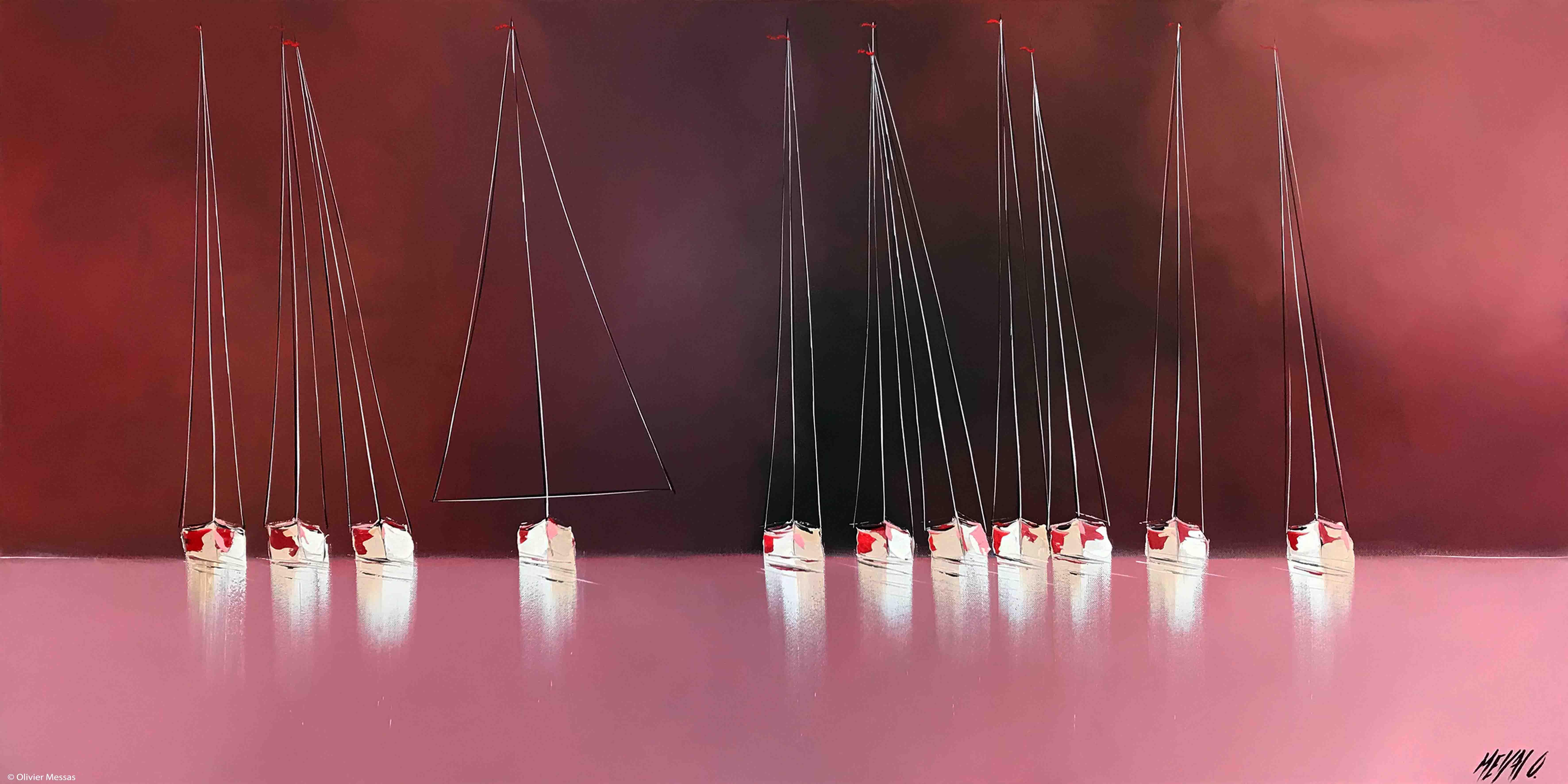 Horizon en rouge... II, 60x120cm