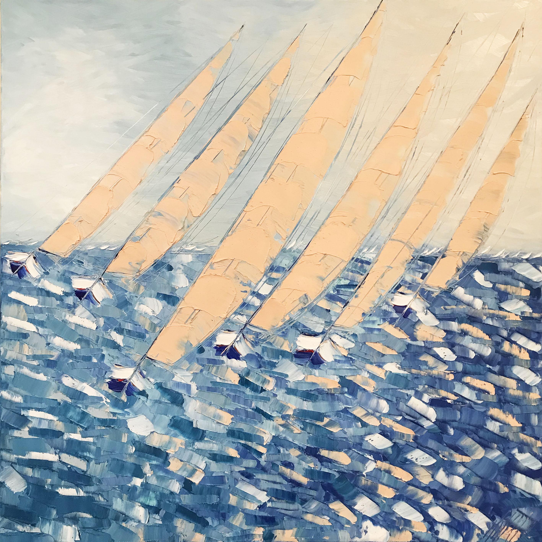 Coucher de soleil sur les voiles... | 100x100cm