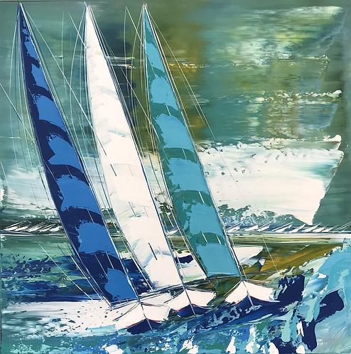 Les voiliers de Trogir...   80x80cm 🟠(RESERVÉE/RESERVED/RESERVIERT)