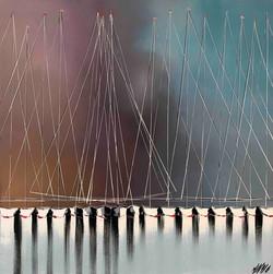 Jeux de mâts... | 80x80cm