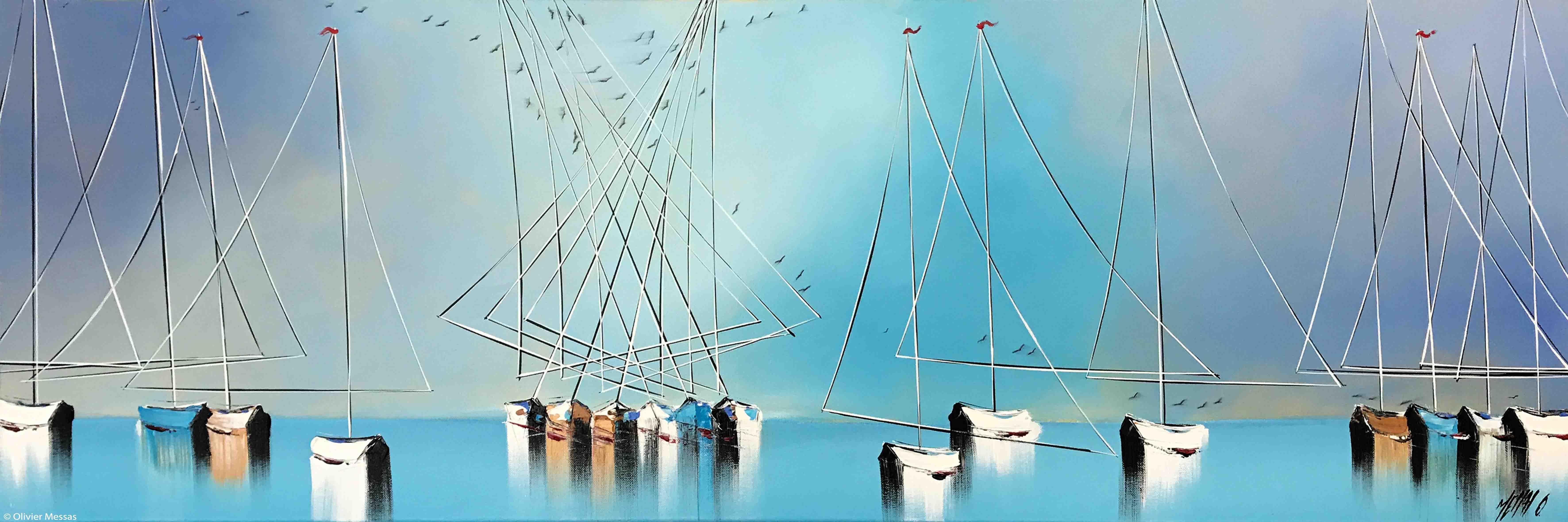 Les voiliers de Mykonos II, 40x120cm