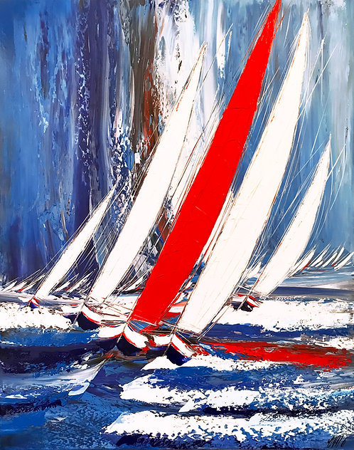 La course au vent... | 150x120cm