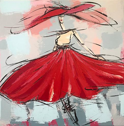 La fille à la robe rouge... | 80x80cm
