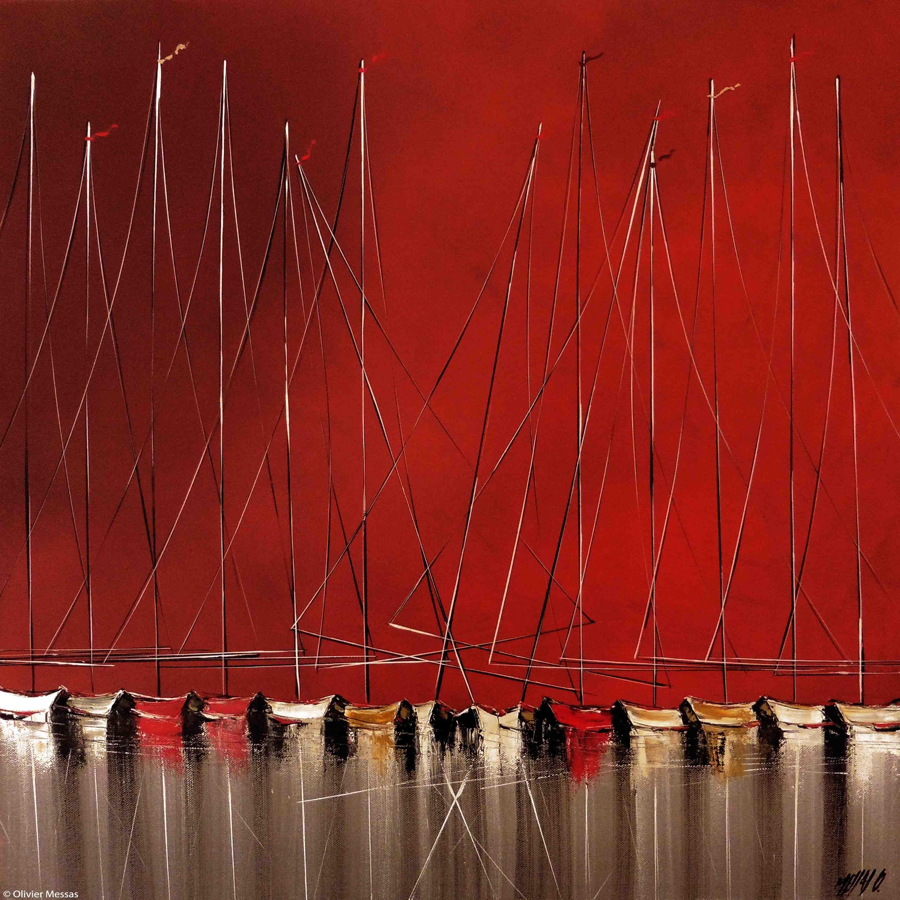 La nuit des voiliers IV, 60x60cm
