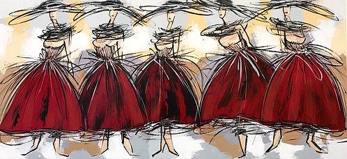Les danseuses rouges... | 70x150cm
