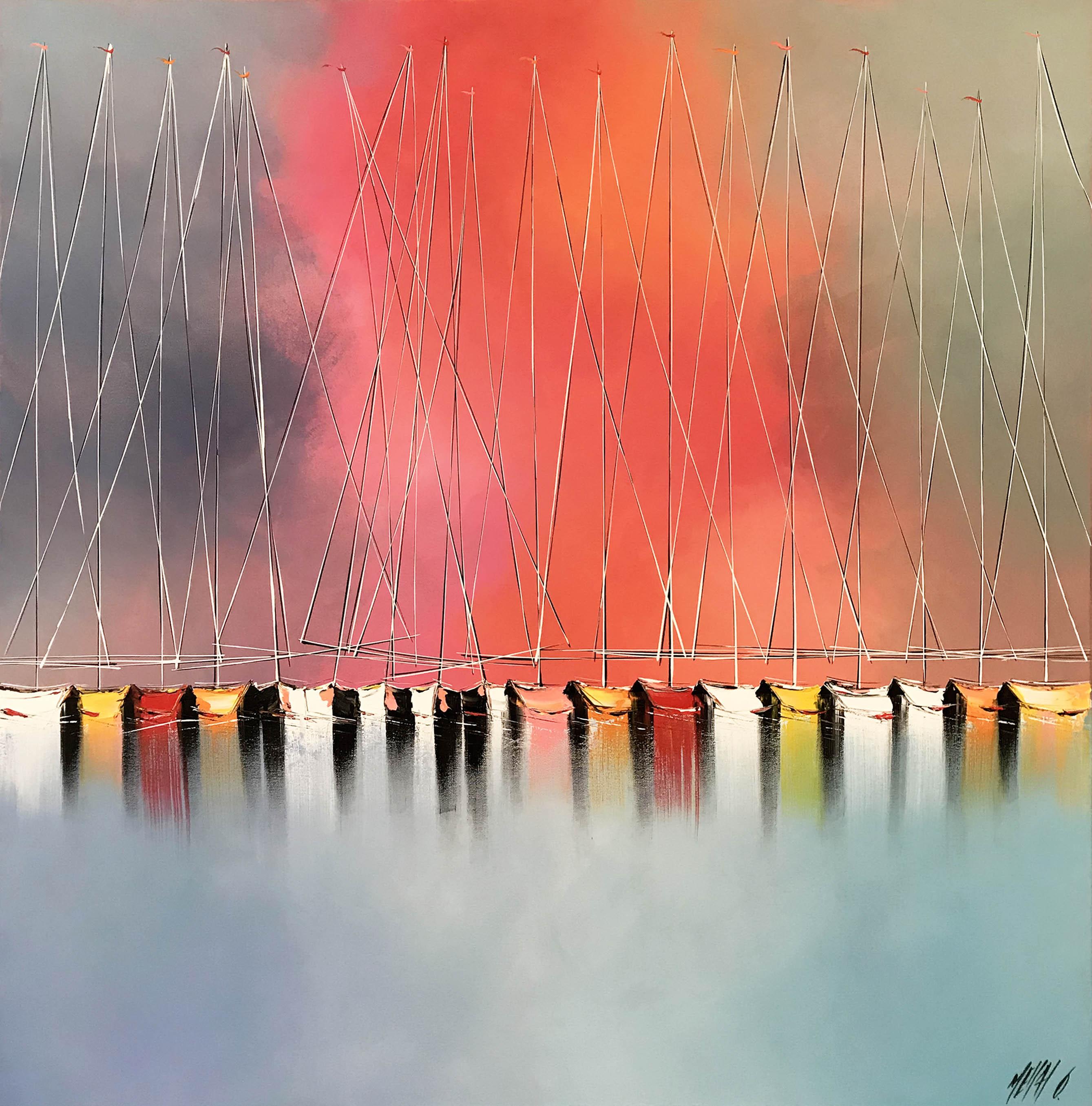 Les voiliers du soleil levant   100x100cm