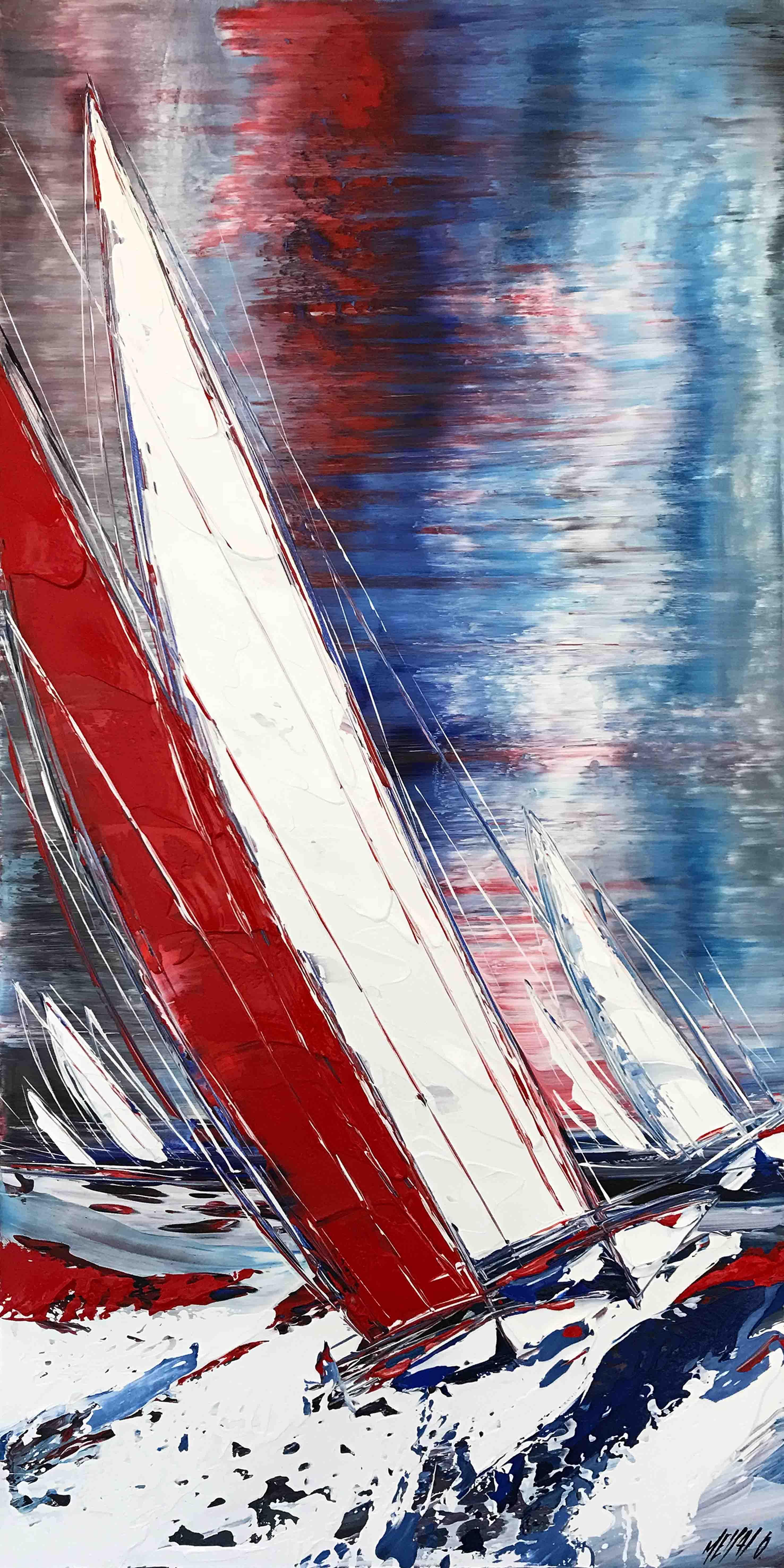 Le voilier rouge III, 100x50cm