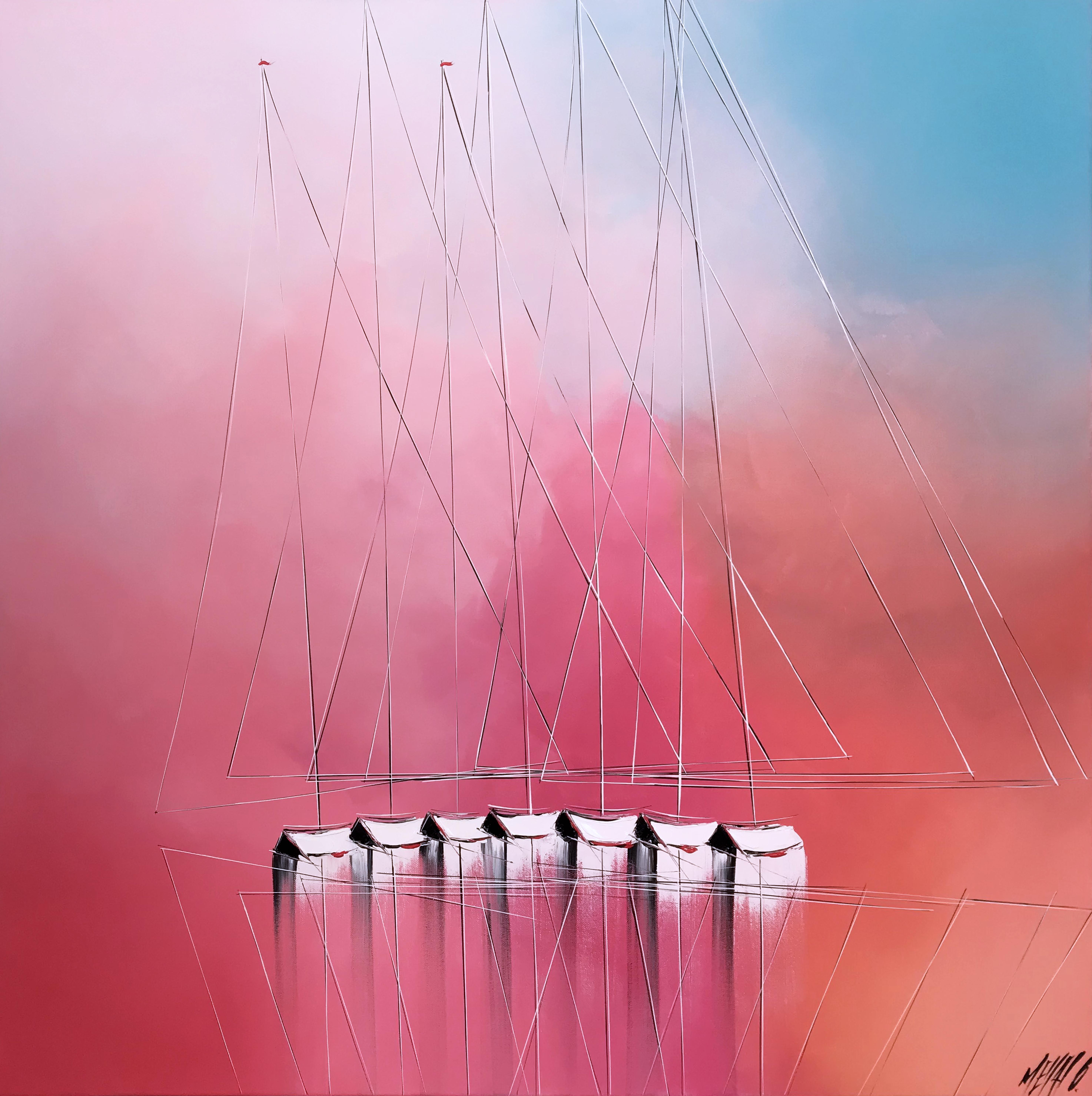 Le ballet des voiliers...   100x100cm