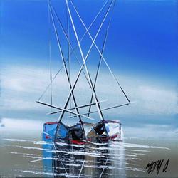 Les 3 voiliers II, 20x20cm