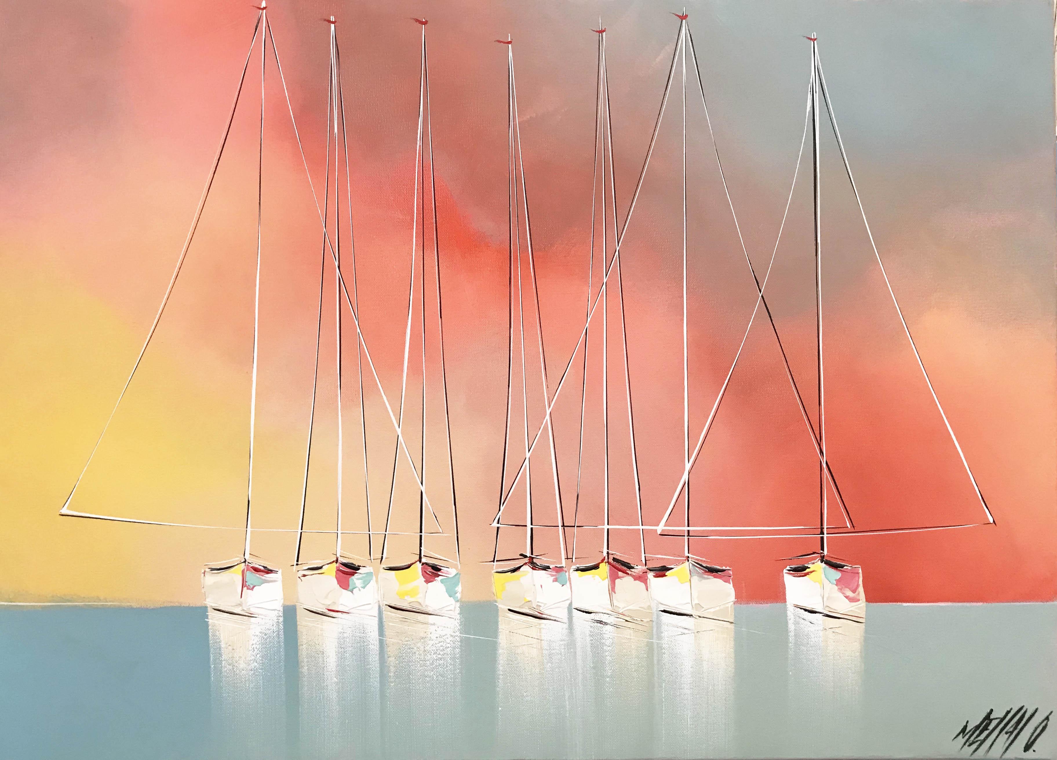 Les voiliers de l'aurore   50x70cm