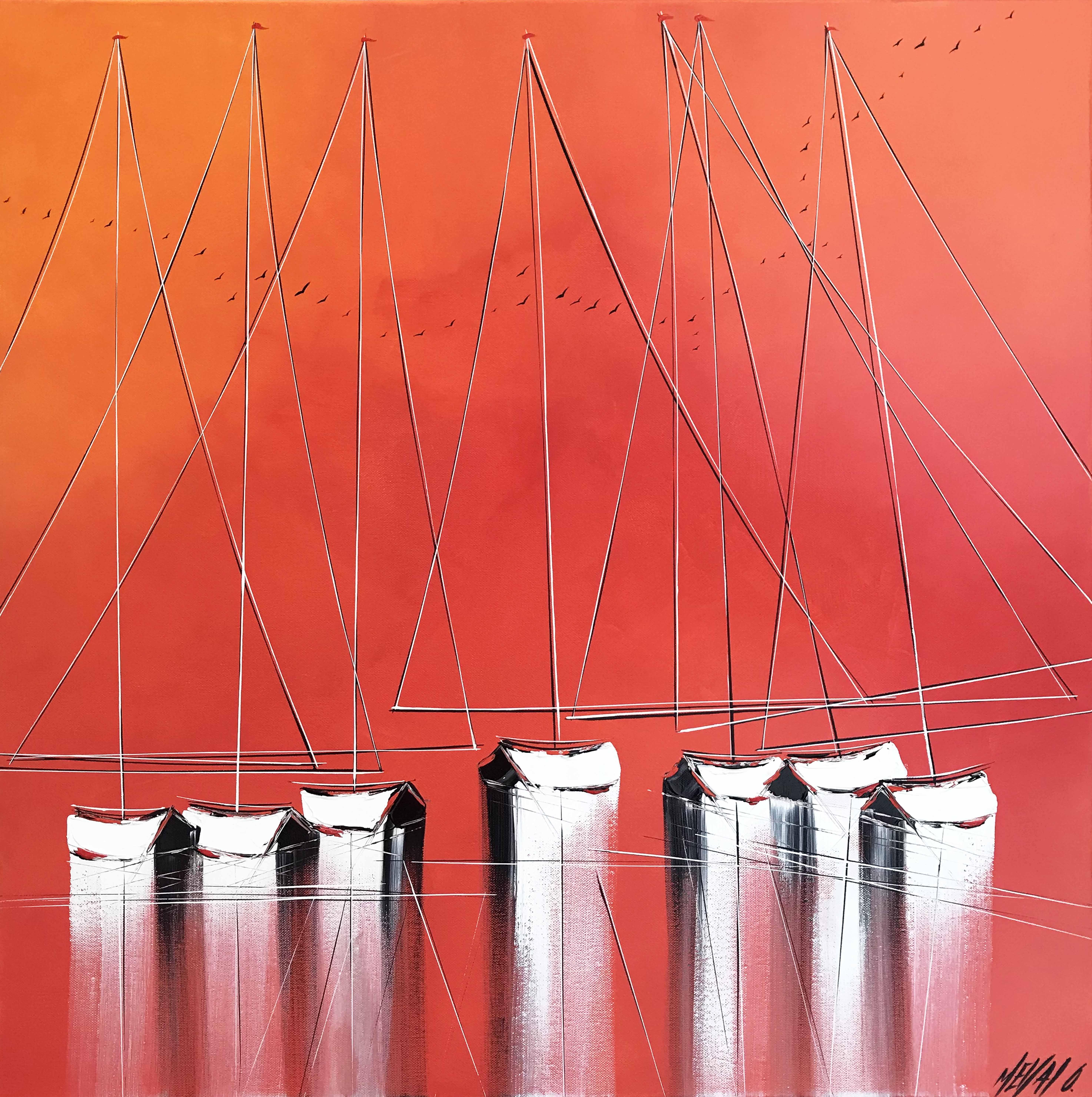 Les voiliers du crépuscule...   70x70cm