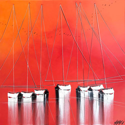 Les voiliers du crépuscule... | 70x70cm