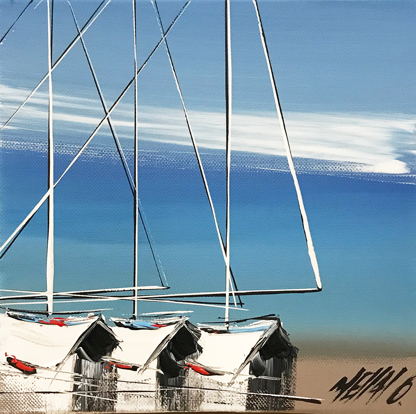 Les trois voiliers... | 20x20cm