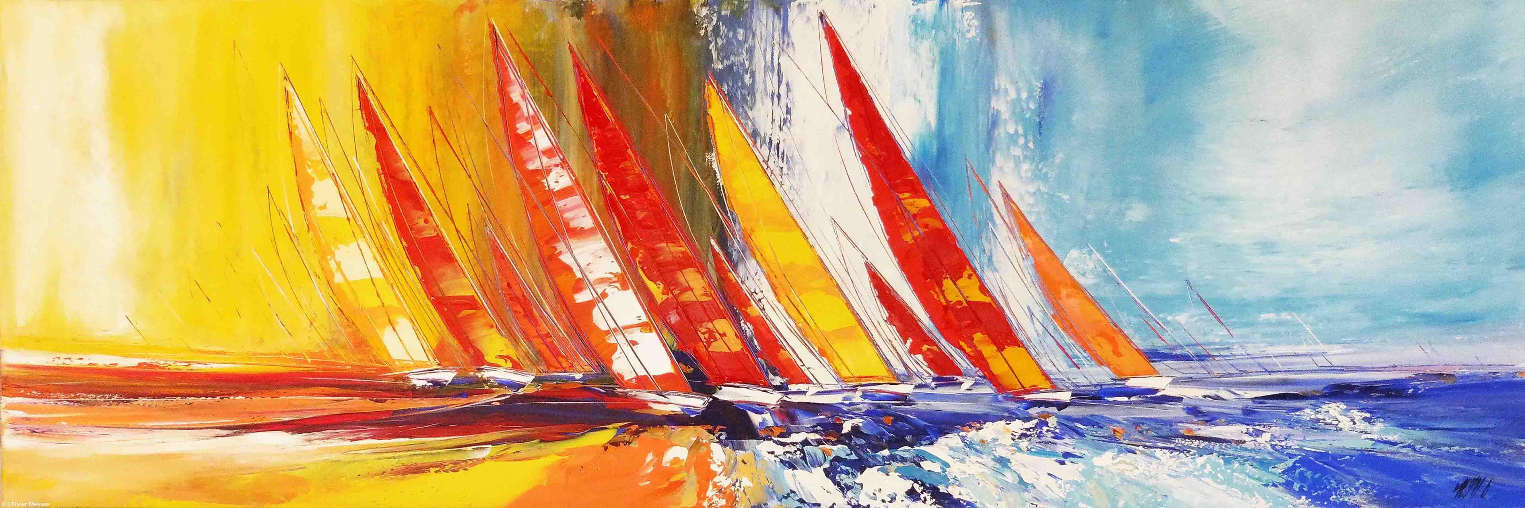 Les voiliers de la Liberté, 60x180cm