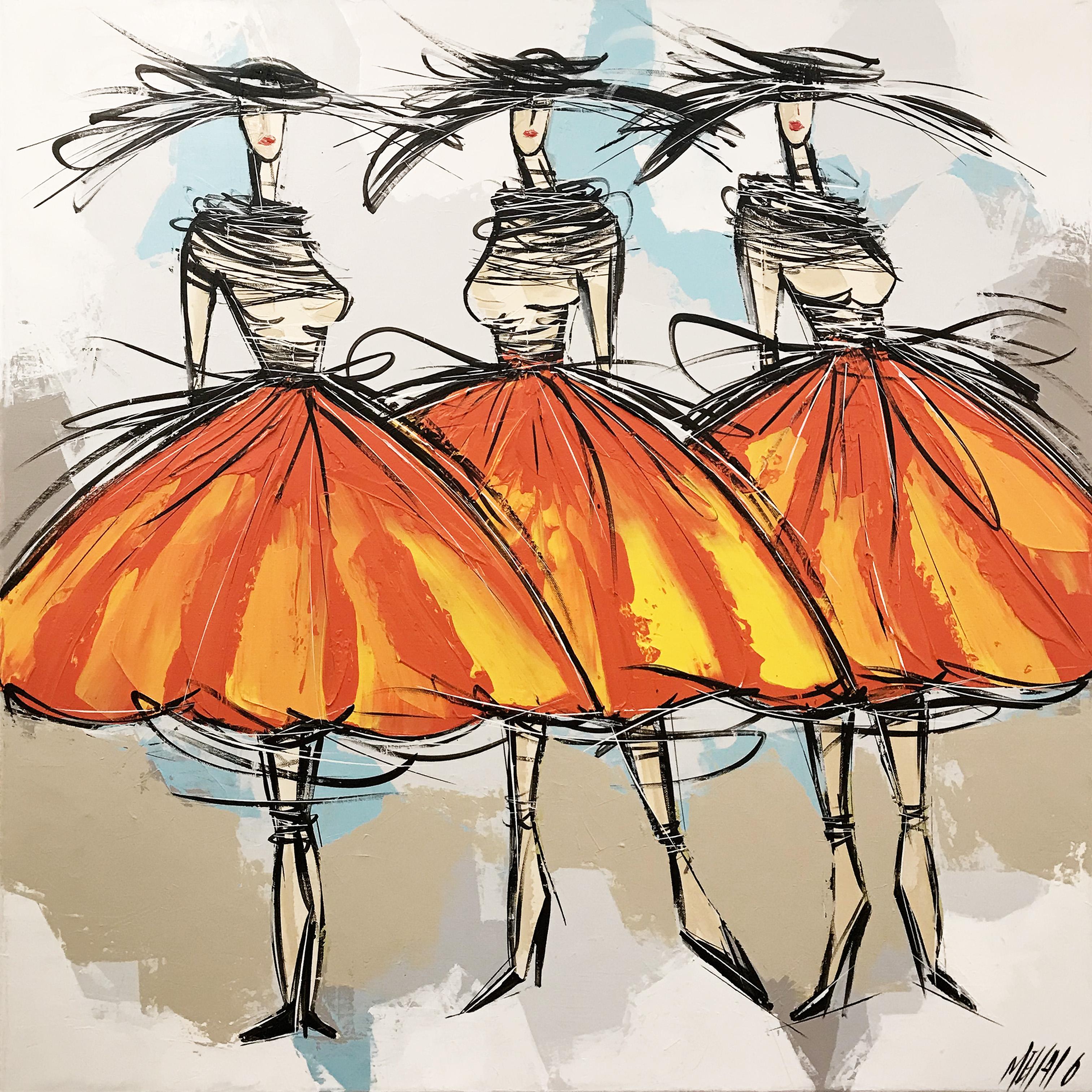 Les filles jus d'orange... | 80x80cm