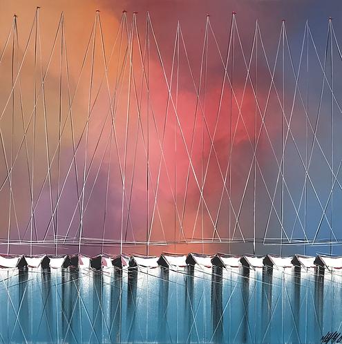Les voiliers de l'aurore...   80x80cm