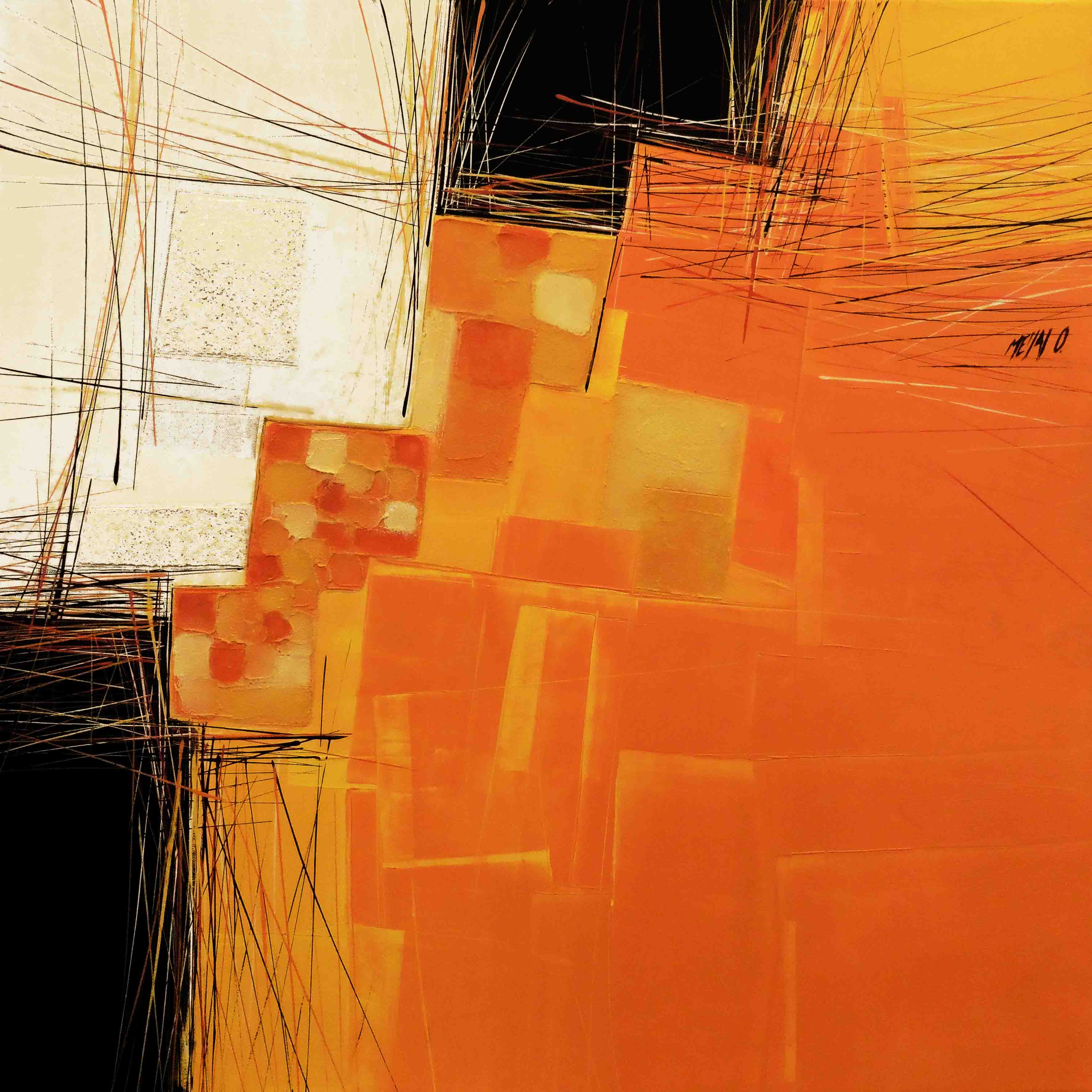 Paysage en orange, 80x80cm