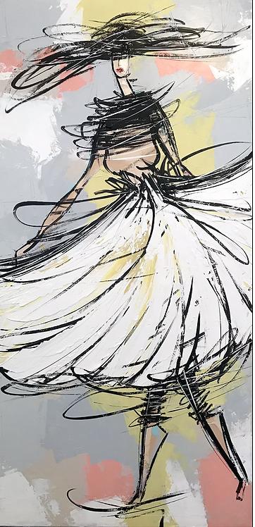 La fille dans le vent... | 80x40cm