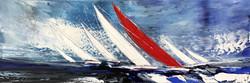 Le voilier rouge III, 40x120cm