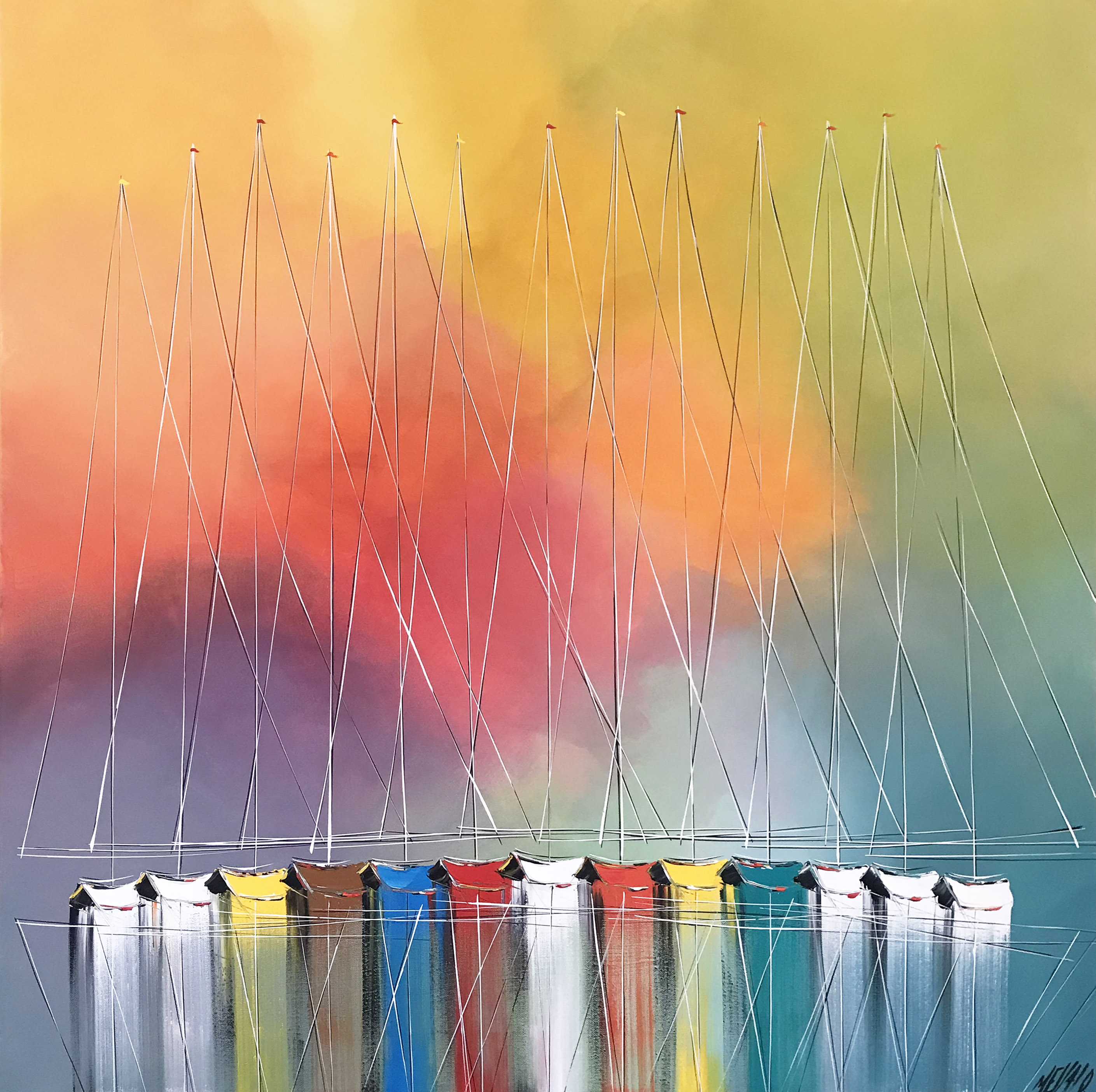 Les couleurs du ciel et de la mer... | 100x100cm