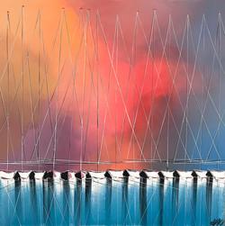 Les voiliers de l'aurore... | 80x80cm