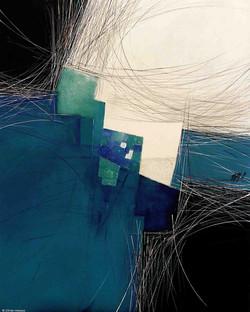 Paysage en bleu turquoise, 100x80 cm