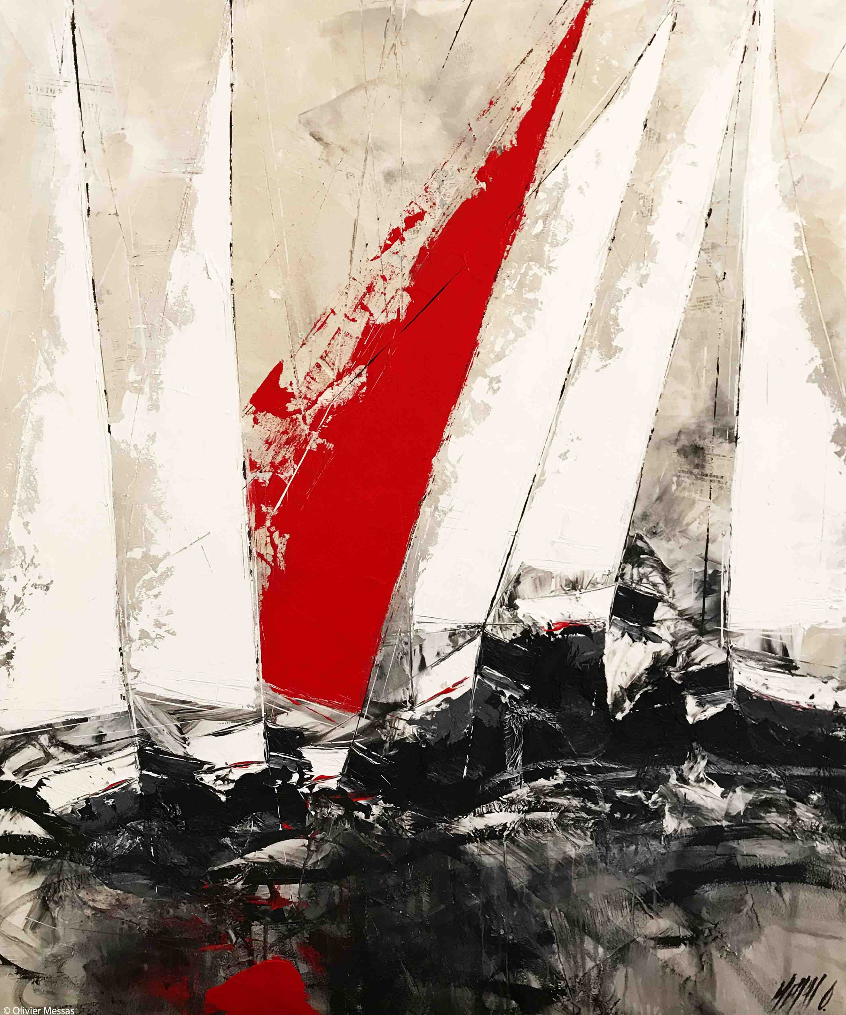 Voile rouge... | 120x100cm