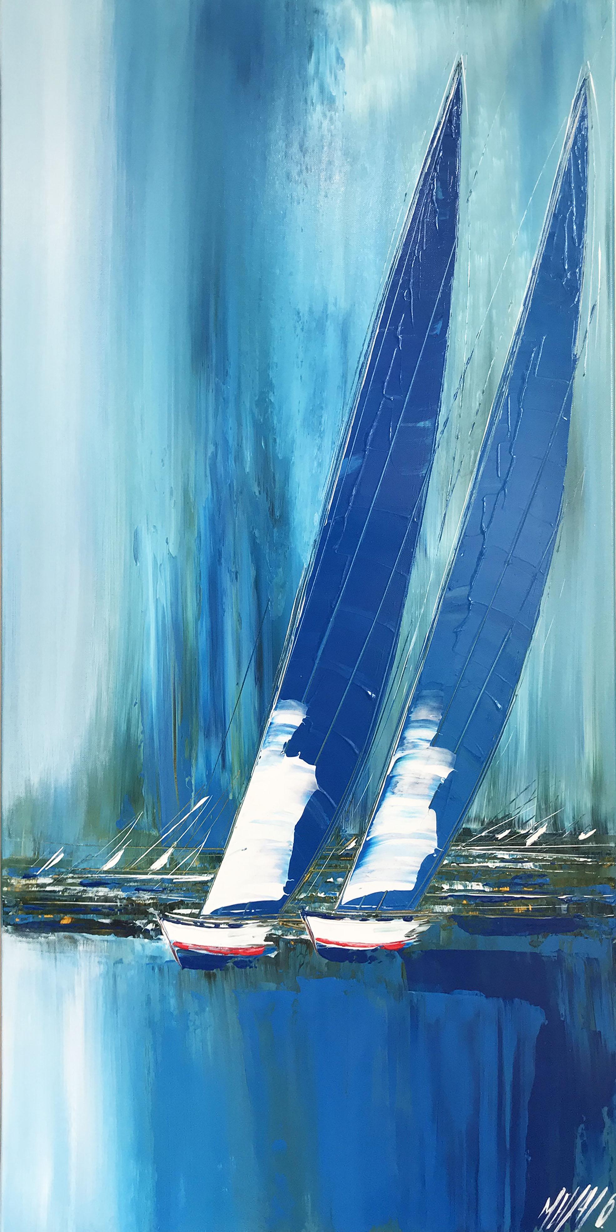Les voiles bleues... | 100x50cm