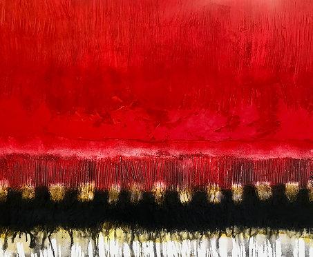 Horizon en rouge... | 120x150cm