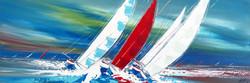 Le voilier rouge... II, 50x150cm