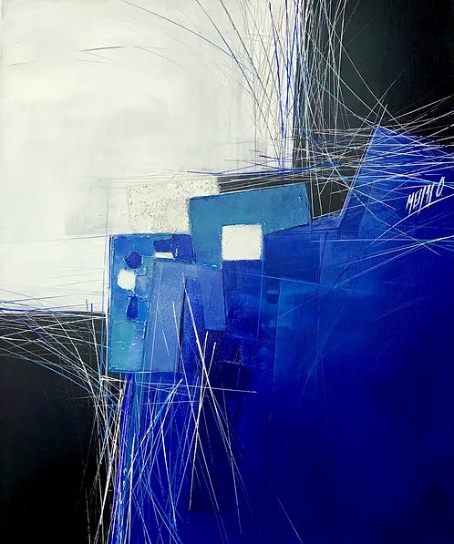 Paysage en bleu... | 60x50cm