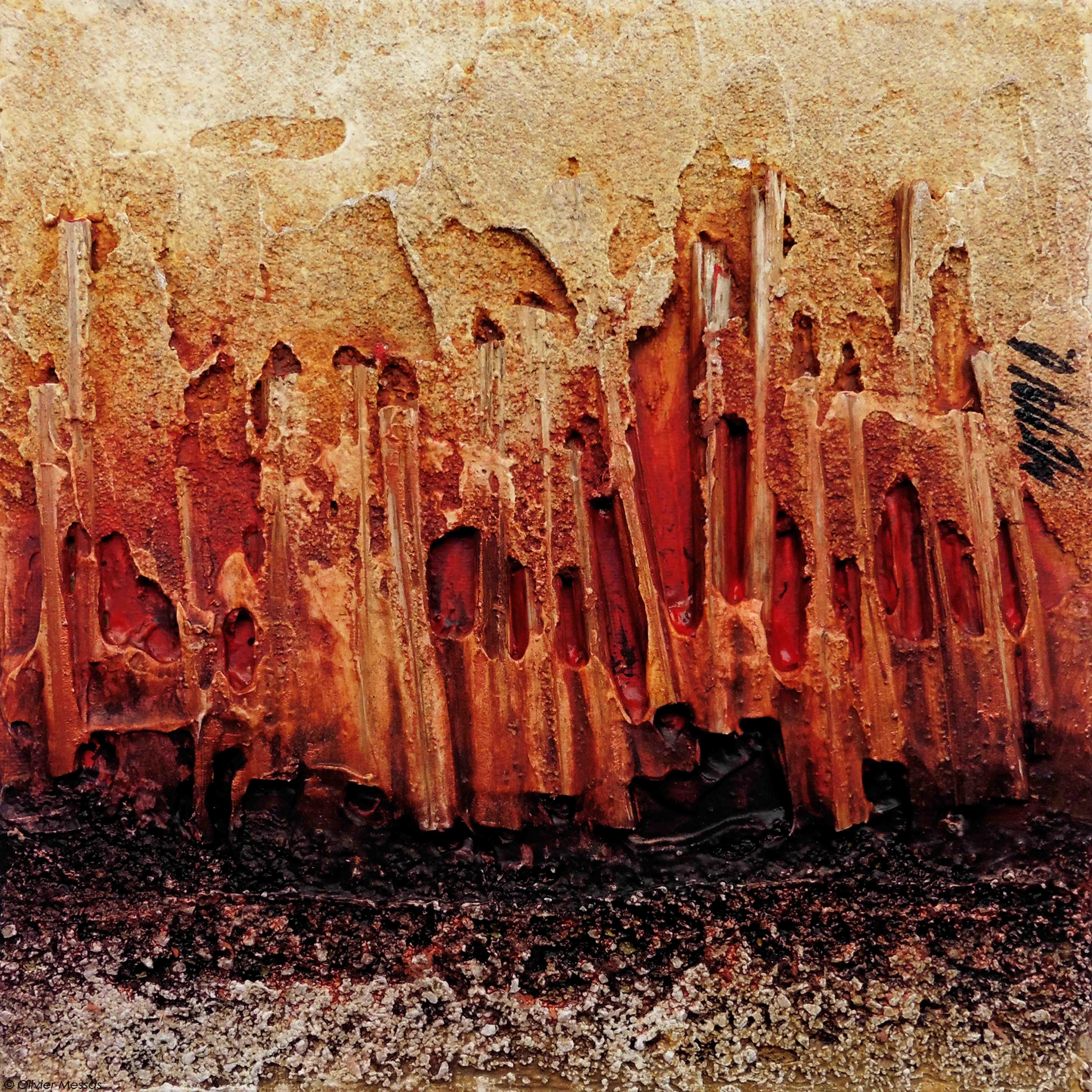 Atmosphère en rouge III, 20x20cm