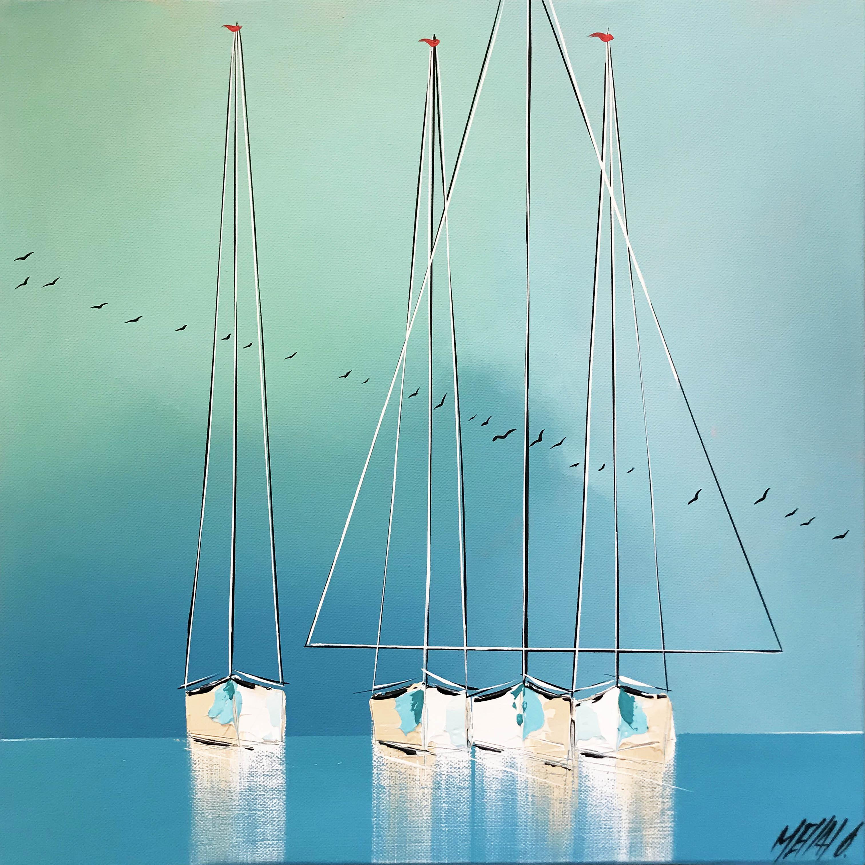 Les reflets bleus...   40x40cm