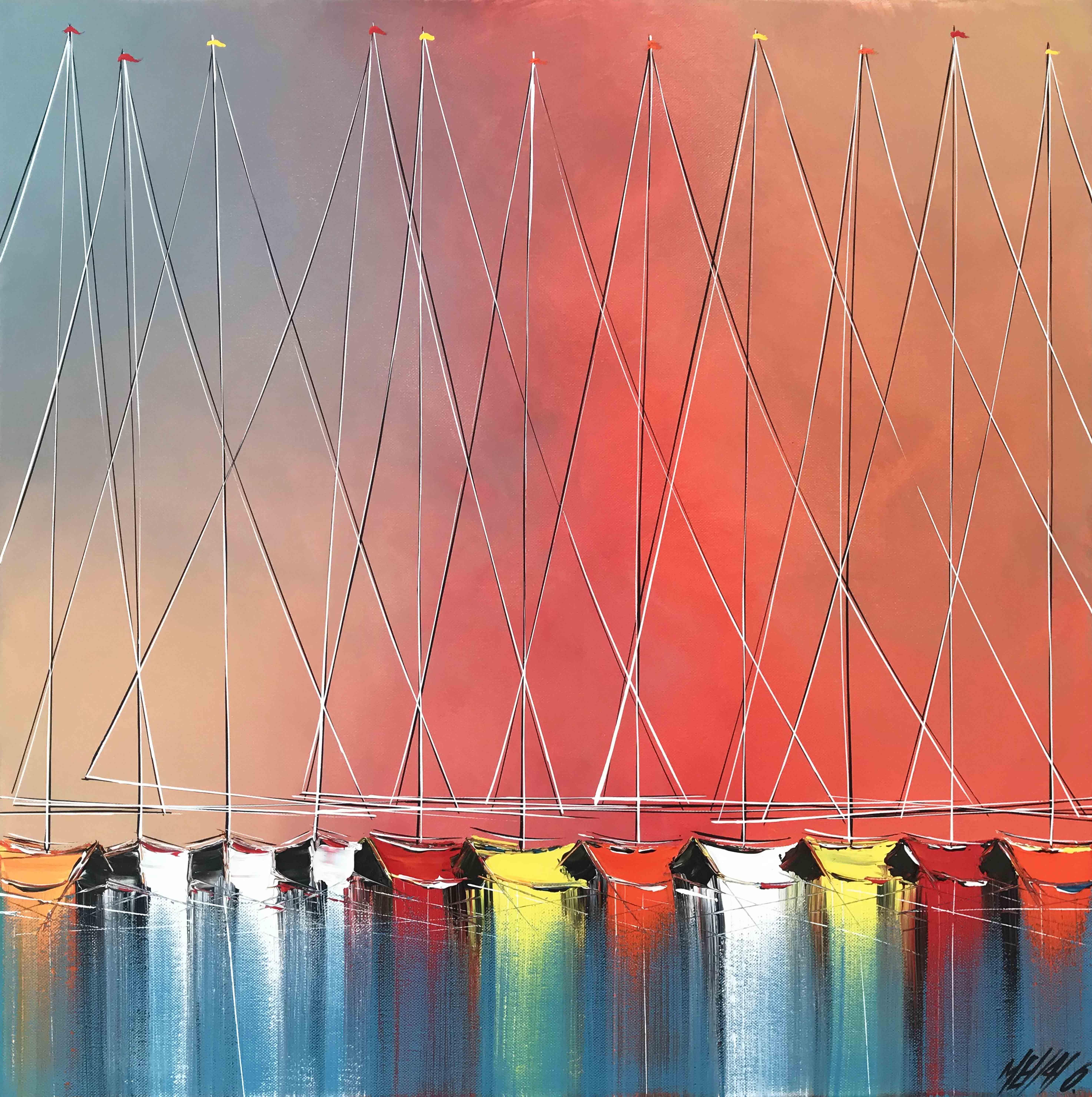 Coucher de soleil sur les mâts... | 60x60cm