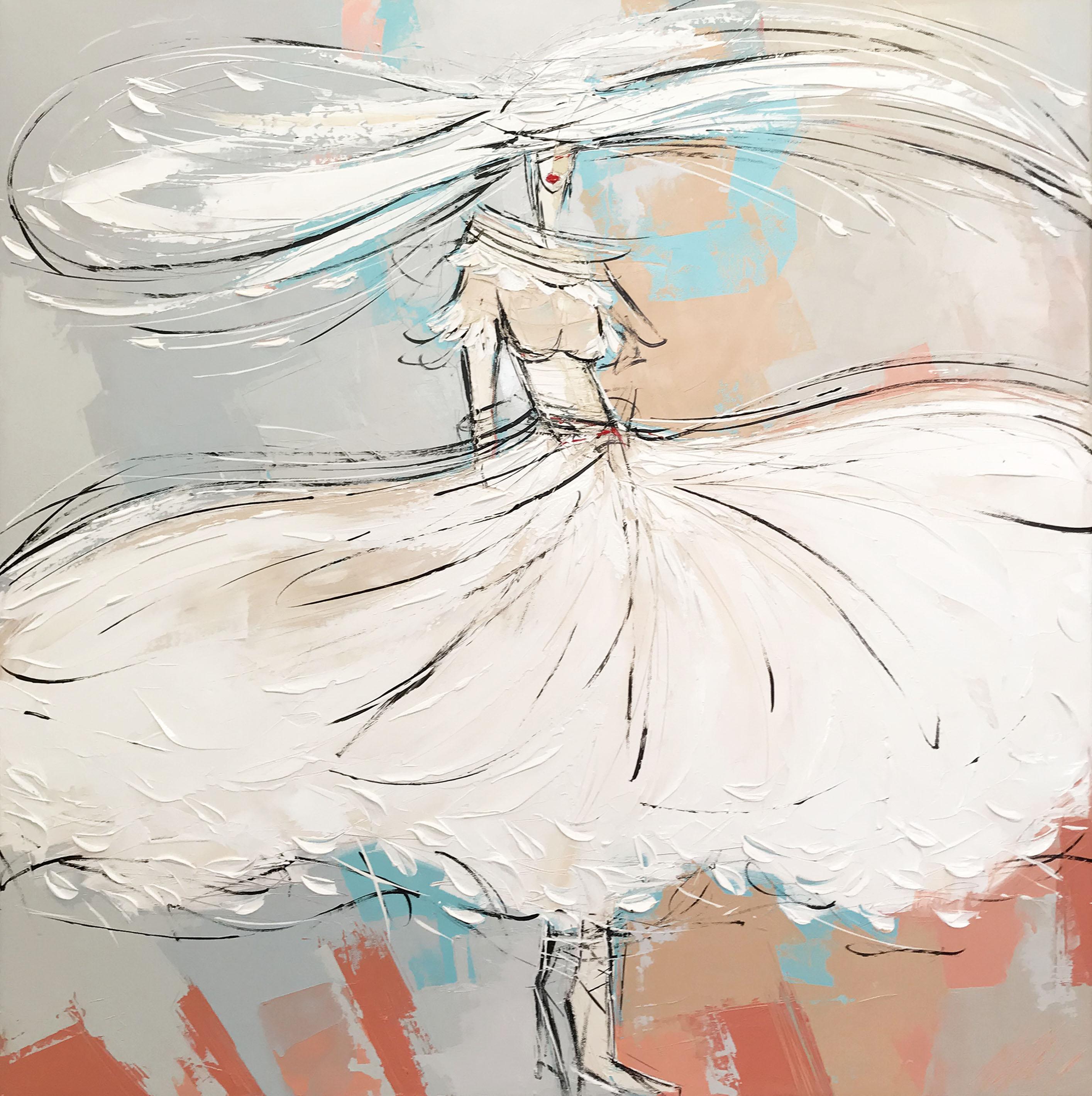 La fille à la robe en plume| 80x80cm