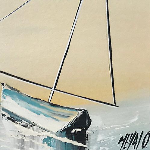 Le voilier amoureux...   9x9cm [cadre 20x20cm]