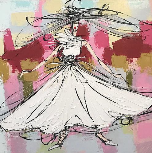 La fille à la robe blanche... | 80x80cm