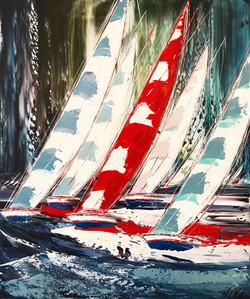 Le voilier rouge..., 100x80cm